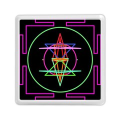Drawing Of A Color Mandala On Black Memory Card Reader (square)