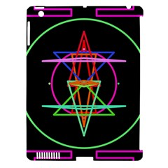 Drawing Of A Color Mandala On Black Apple Ipad 3/4 Hardshell Case (compatible With Smart Cover) by Simbadda