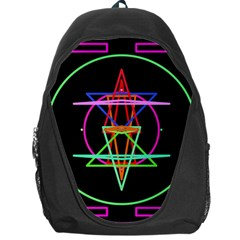 Drawing Of A Color Mandala On Black Backpack Bag by Simbadda