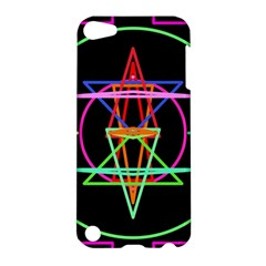 Drawing Of A Color Mandala On Black Apple Ipod Touch 5 Hardshell Case by Simbadda