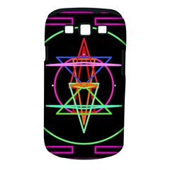 Drawing Of A Color Mandala On Black Samsung Galaxy S Iii Classic Hardshell Case (pc+silicone)