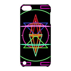 Drawing Of A Color Mandala On Black Apple Ipod Touch 5 Hardshell Case With Stand by Simbadda