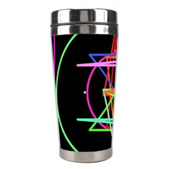 Drawing Of A Color Mandala On Black Stainless Steel Travel Tumblers by Simbadda