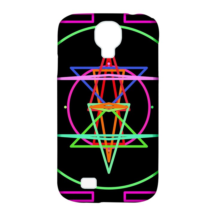 Drawing Of A Color Mandala On Black Samsung Galaxy S4 Classic Hardshell Case (PC+Silicone)