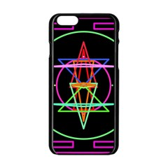 Drawing Of A Color Mandala On Black Apple Iphone 6/6s Black Enamel Case by Simbadda