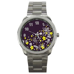 Vintage Retro Floral Flowers Wallpaper Pattern Background Sport Metal Watch by Simbadda