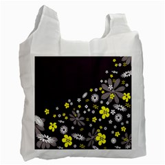 Vintage Retro Floral Flowers Wallpaper Pattern Background Recycle Bag (one Side) by Simbadda