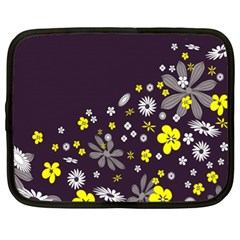 Vintage Retro Floral Flowers Wallpaper Pattern Background Netbook Case (xl)  by Simbadda