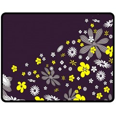 Vintage Retro Floral Flowers Wallpaper Pattern Background Fleece Blanket (medium)  by Simbadda
