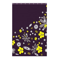 Vintage Retro Floral Flowers Wallpaper Pattern Background Shower Curtain 48  X 72  (small)  by Simbadda