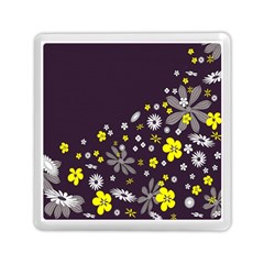 Vintage Retro Floral Flowers Wallpaper Pattern Background Memory Card Reader (square)  by Simbadda