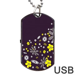 Vintage Retro Floral Flowers Wallpaper Pattern Background Dog Tag Usb Flash (two Sides) by Simbadda