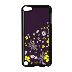 Vintage Retro Floral Flowers Wallpaper Pattern Background Apple Ipod Touch 5 Case (black) by Simbadda