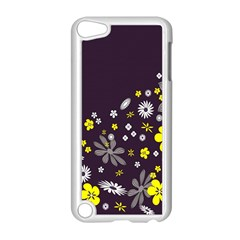 Vintage Retro Floral Flowers Wallpaper Pattern Background Apple Ipod Touch 5 Case (white) by Simbadda