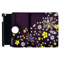 Vintage Retro Floral Flowers Wallpaper Pattern Background Apple Ipad 2 Flip 360 Case by Simbadda
