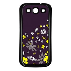 Vintage Retro Floral Flowers Wallpaper Pattern Background Samsung Galaxy S3 Back Case (black) by Simbadda
