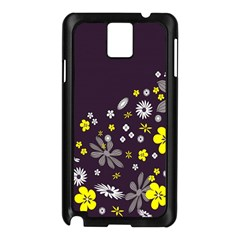 Vintage Retro Floral Flowers Wallpaper Pattern Background Samsung Galaxy Note 3 N9005 Case (black)