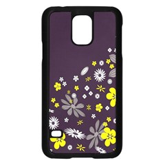 Vintage Retro Floral Flowers Wallpaper Pattern Background Samsung Galaxy S5 Case (black) by Simbadda