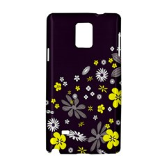 Vintage Retro Floral Flowers Wallpaper Pattern Background Samsung Galaxy Note 4 Hardshell Case