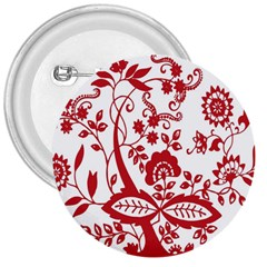 Red Vintage Floral Flowers Decorative Pattern Clipart 3  Buttons by Simbadda