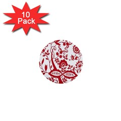 Red Vintage Floral Flowers Decorative Pattern Clipart 1  Mini Buttons (10 Pack)