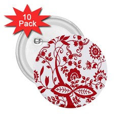 Red Vintage Floral Flowers Decorative Pattern Clipart 2 25  Buttons (10 Pack)  by Simbadda