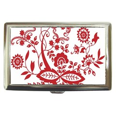 Red Vintage Floral Flowers Decorative Pattern Clipart Cigarette Money Cases