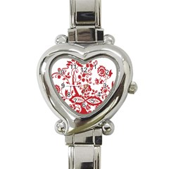 Red Vintage Floral Flowers Decorative Pattern Clipart Heart Italian Charm Watch