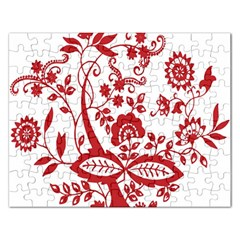 Red Vintage Floral Flowers Decorative Pattern Clipart Rectangular Jigsaw Puzzl by Simbadda