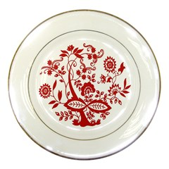Red Vintage Floral Flowers Decorative Pattern Clipart Porcelain Plates by Simbadda