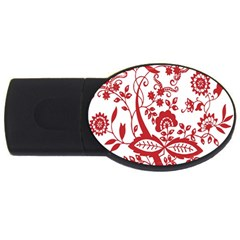 Red Vintage Floral Flowers Decorative Pattern Clipart Usb Flash Drive Oval (4 Gb) by Simbadda