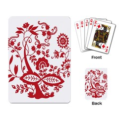 Red Vintage Floral Flowers Decorative Pattern Clipart Playing Card by Simbadda