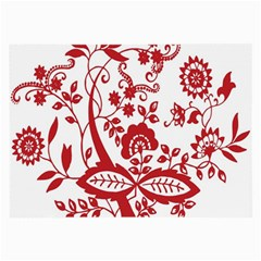Red Vintage Floral Flowers Decorative Pattern Clipart Large Glasses Cloth