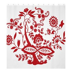 Red Vintage Floral Flowers Decorative Pattern Clipart Shower Curtain 66  X 72  (large)  by Simbadda