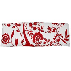 Red Vintage Floral Flowers Decorative Pattern Clipart Body Pillow Case (dakimakura) by Simbadda