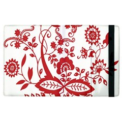 Red Vintage Floral Flowers Decorative Pattern Clipart Apple Ipad 3/4 Flip Case
