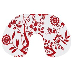 Red Vintage Floral Flowers Decorative Pattern Clipart Travel Neck Pillows