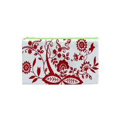 Red Vintage Floral Flowers Decorative Pattern Clipart Cosmetic Bag (xs) by Simbadda