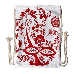 Red Vintage Floral Flowers Decorative Pattern Clipart Drawstring Bag (large)