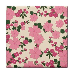 Vintage Floral Wallpaper Background In Shades Of Pink Tile Coasters