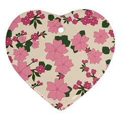 Vintage Floral Wallpaper Background In Shades Of Pink Ornament (heart) by Simbadda