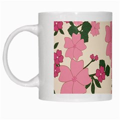 Vintage Floral Wallpaper Background In Shades Of Pink White Mugs by Simbadda