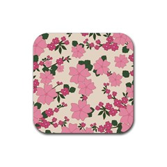 Vintage Floral Wallpaper Background In Shades Of Pink Rubber Coaster (square)  by Simbadda