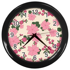 Vintage Floral Wallpaper Background In Shades Of Pink Wall Clocks (black) by Simbadda