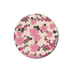 Vintage Floral Wallpaper Background In Shades Of Pink Rubber Round Coaster (4 Pack)