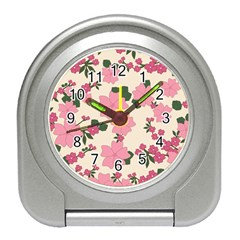 Vintage Floral Wallpaper Background In Shades Of Pink Travel Alarm Clocks by Simbadda
