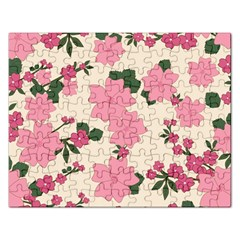 Vintage Floral Wallpaper Background In Shades Of Pink Rectangular Jigsaw Puzzl by Simbadda