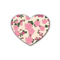 Vintage Floral Wallpaper Background In Shades Of Pink Rubber Coaster (heart)  by Simbadda