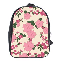 Vintage Floral Wallpaper Background In Shades Of Pink School Bags(large)  by Simbadda