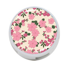 Vintage Floral Wallpaper Background In Shades Of Pink 4 Port Usb Hub (one Side) by Simbadda